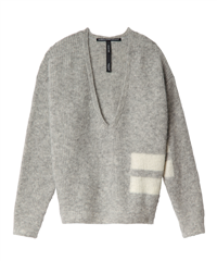 10Days light grey melee sweater v-neck