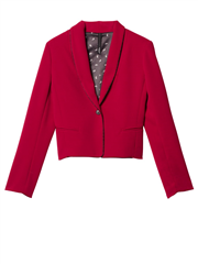 10Days rode smoking blazer met zwarte lurex piping