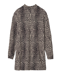 10Days winterwitte linnen leopard tuniek met turtle neck