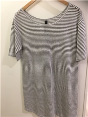 10Days french stripe t-shirt jurk ecru/black