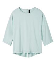10Days sky blue t-shirt met driekwart mouwen en split