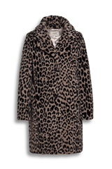 Beaumont bruin grijze leopard teddy jas Wild bear dark grey