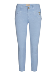 MosMosh chambray blue cropped broek Sharon stretch