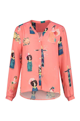 Pom Amsterdam Lucky charms coral by Katja blouse