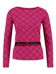 Studio Anneloes Macy shirt lange mouw check donkerblauw cerise