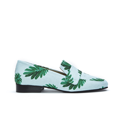 Fabienne Chapot mint canvas loafer met citrus leaf