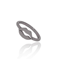 Tov zwart metalen ring whats up kiss maat 17