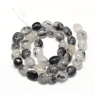 Black rutilated quartz kraal ovaal 10 mm