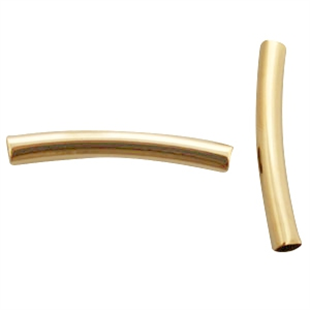 Gold plated metalen tube kraal 4x30 mm