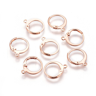 Rose goud stainless steel leverback oorring met ring