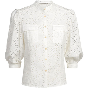 Summum witte top puff sleeve cotton chiffy