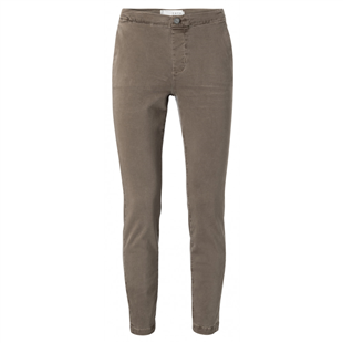 Yaya chocolate cotton straight chino broek