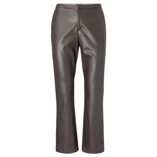 Yaya licorice faux leather driekwart kick flared broek