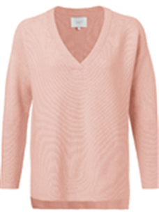 Yaya papaya cotton mix ribbed sweater met v-hals