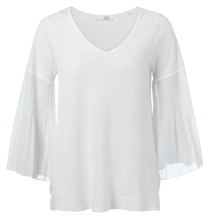 Yaya wolwit fabric mix v-hals top met plooien