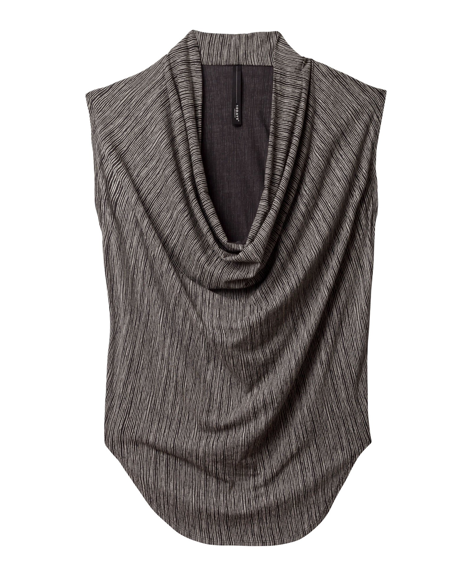 10Days charcoal waterfall top thin stripe