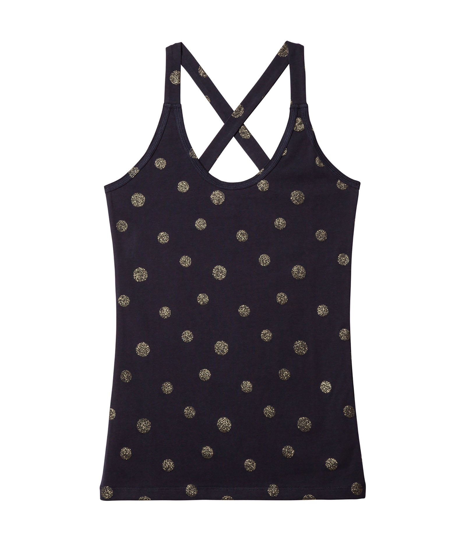 10Days donkerblauwe Iconic wrapper top golden dot