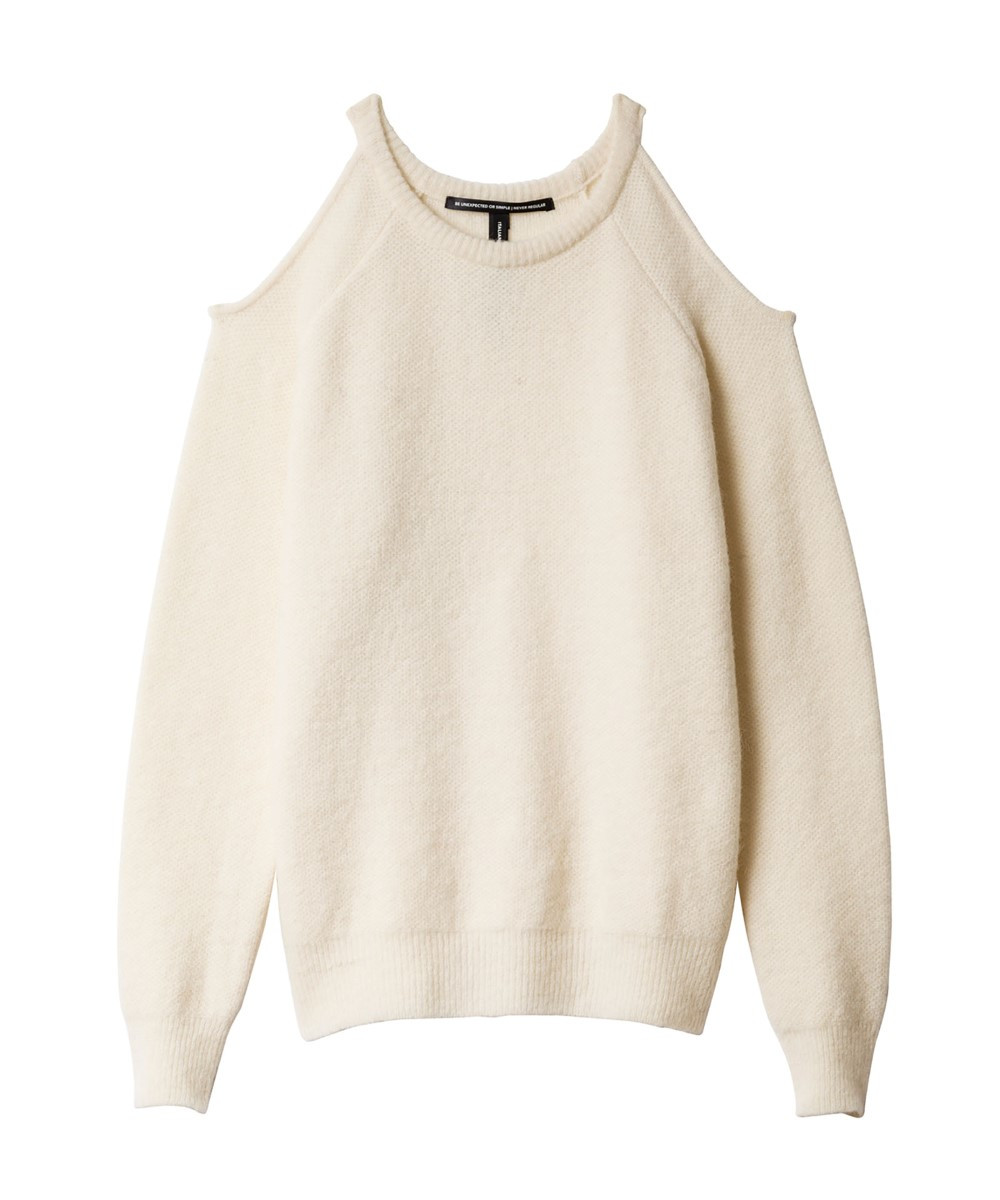 10Days ecru wollen sweater met open schouders
