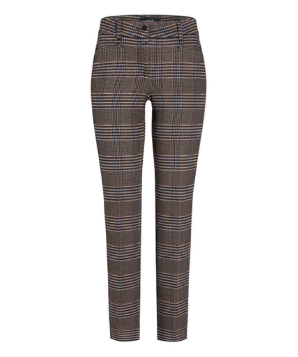 Cambio broek Rhona innovative wool look glencheck jersey camel blue