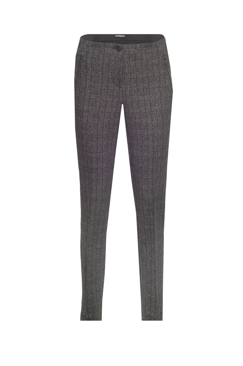 Cambio striped check broek Ros zip long