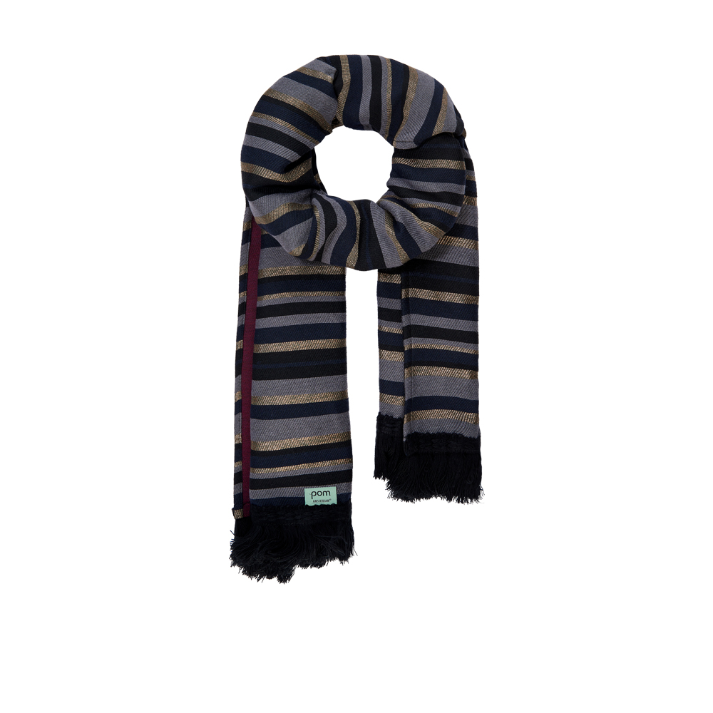 Pom sjaal Shiny Stripes grey