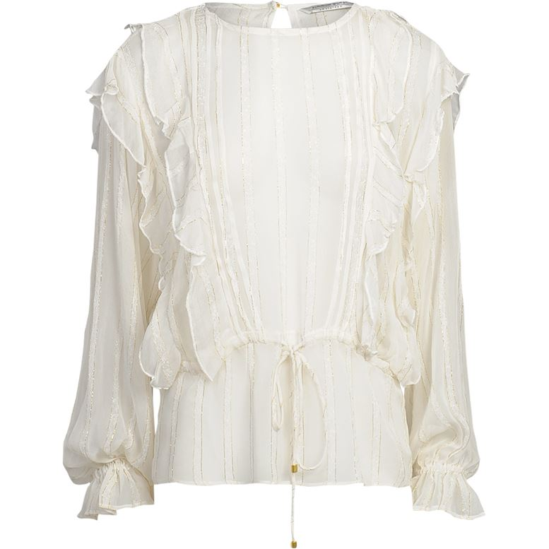 Summum creme ruffle top lurex streep