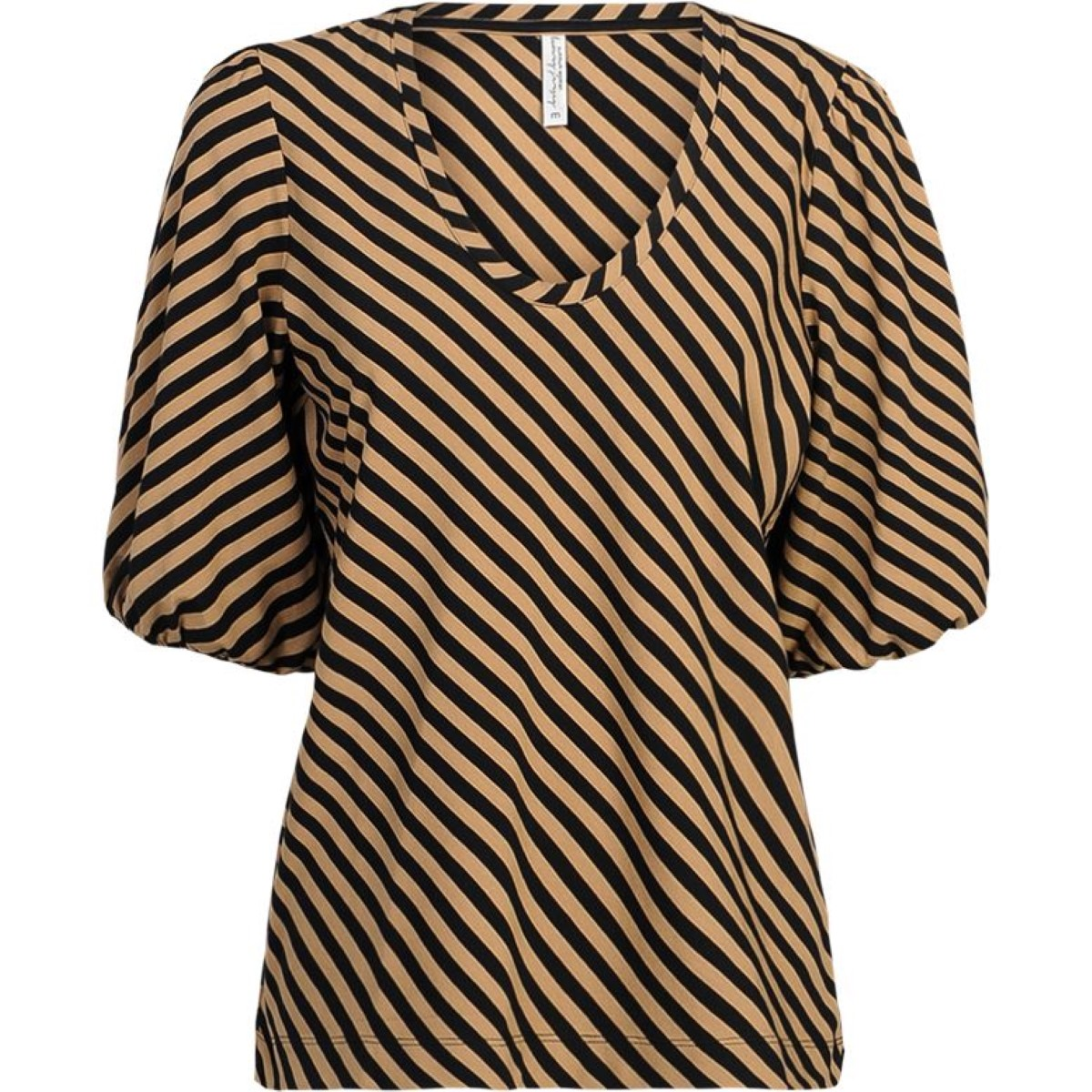 Summum dark desert top u-neck puff sleeve stripe