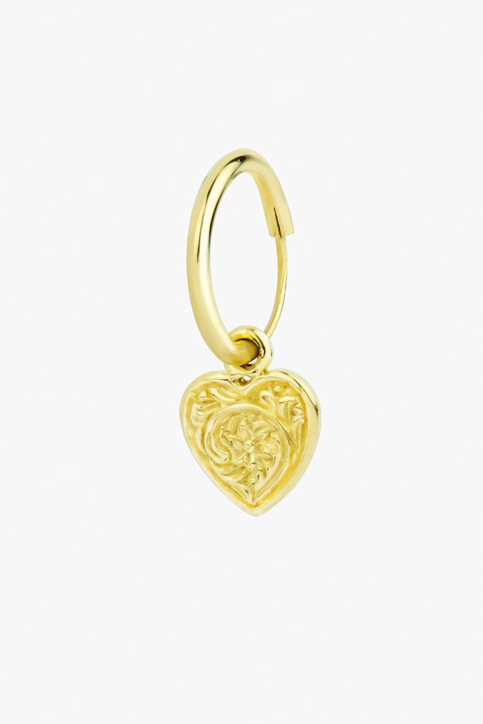 Wildthings heart hoop earring gold (per stuk)