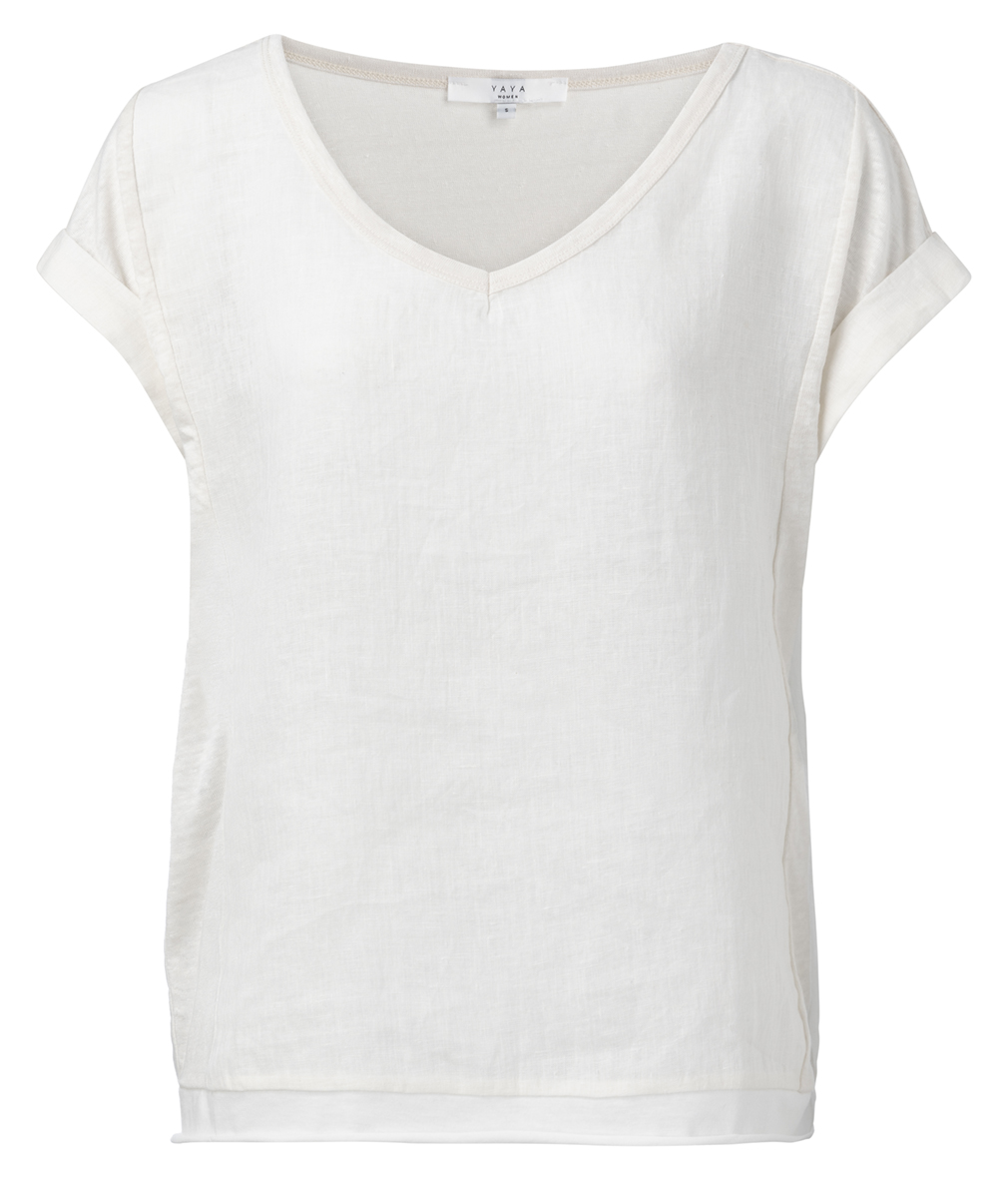 Yaya blanc de blanc linnen fabric mix top