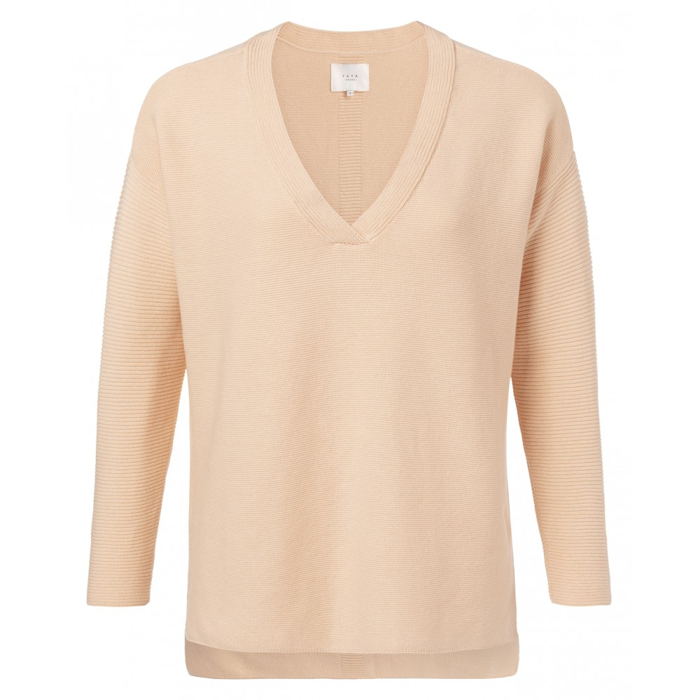 Yaya soft peach cotton mix ribbed sweater met v-hals