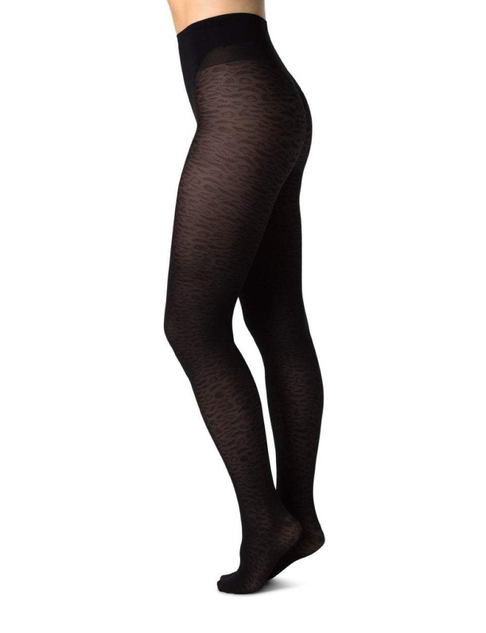 Swedish Stockings zwarte panty met leopard motief