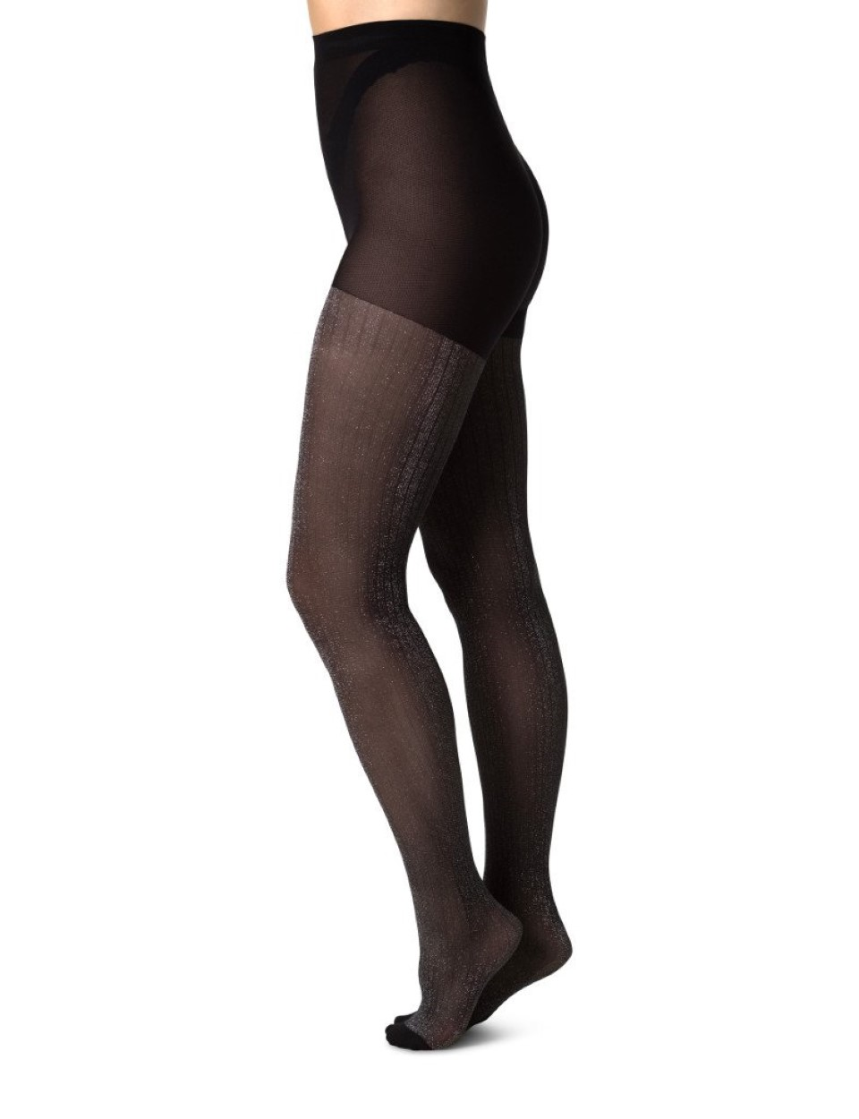 Swedish Stockings zwarte panty Lisa lurex rib motief